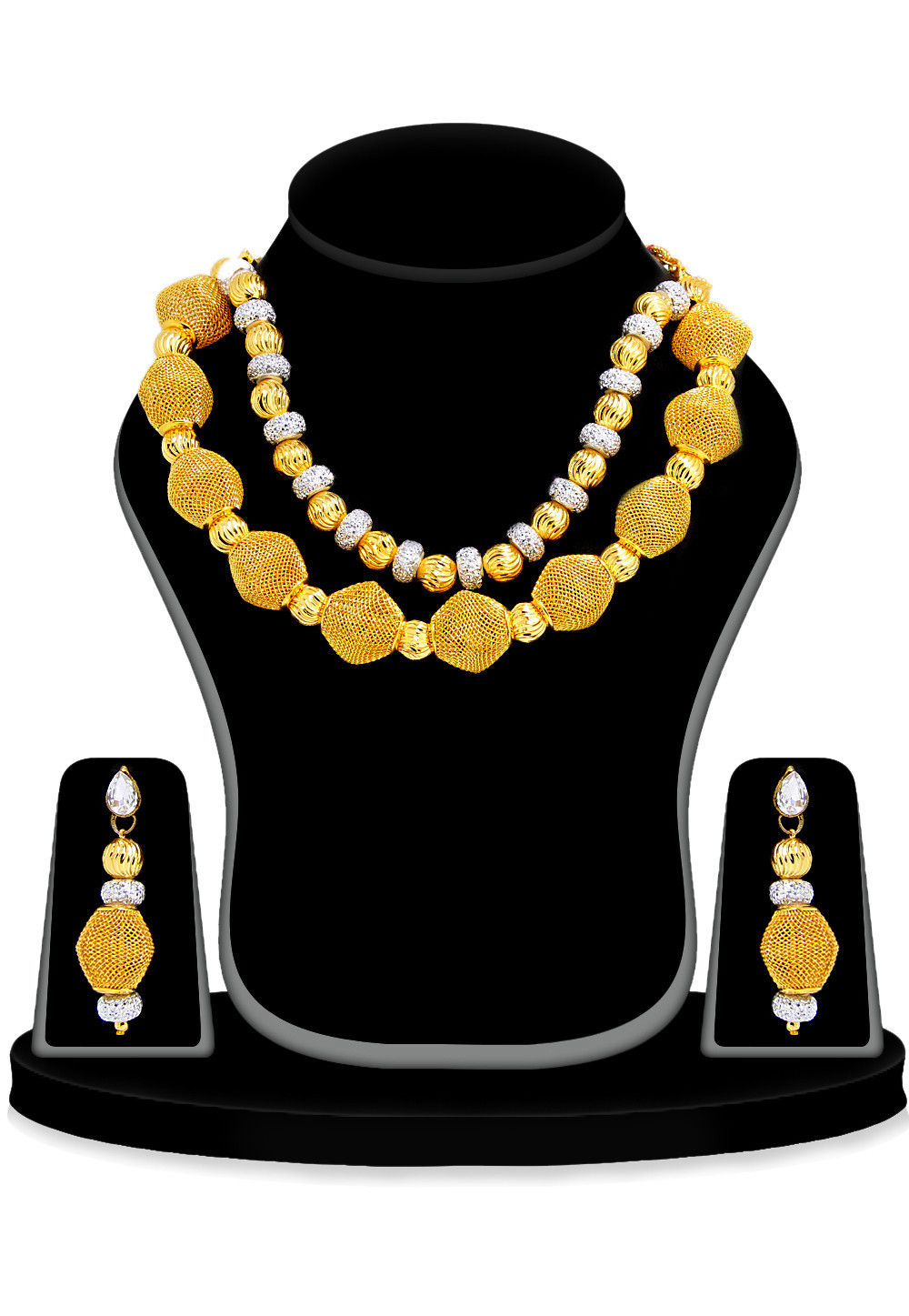 Beaded Necklace in  White and Golden
