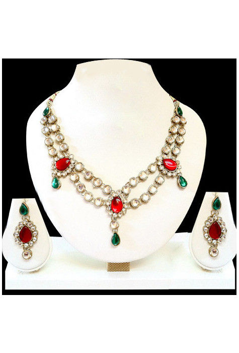 Kundan Necklace Set in Red and Green