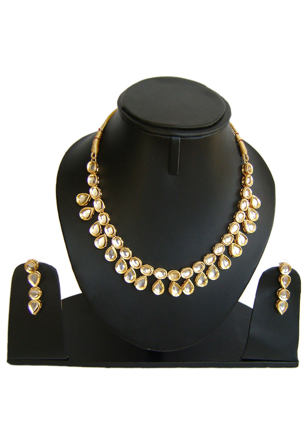 Kundan Necklace Set in White and Golden