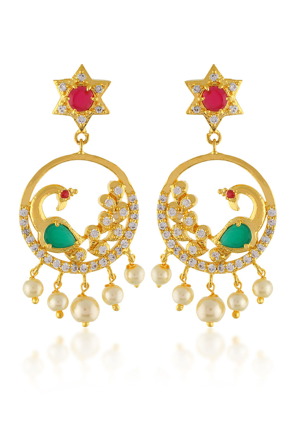 Gold Plated Stone Studded Chandbali Earring