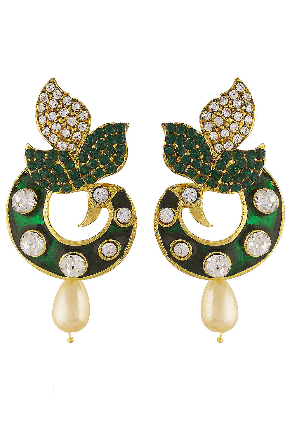 Stone Studded Peacock Style Earring