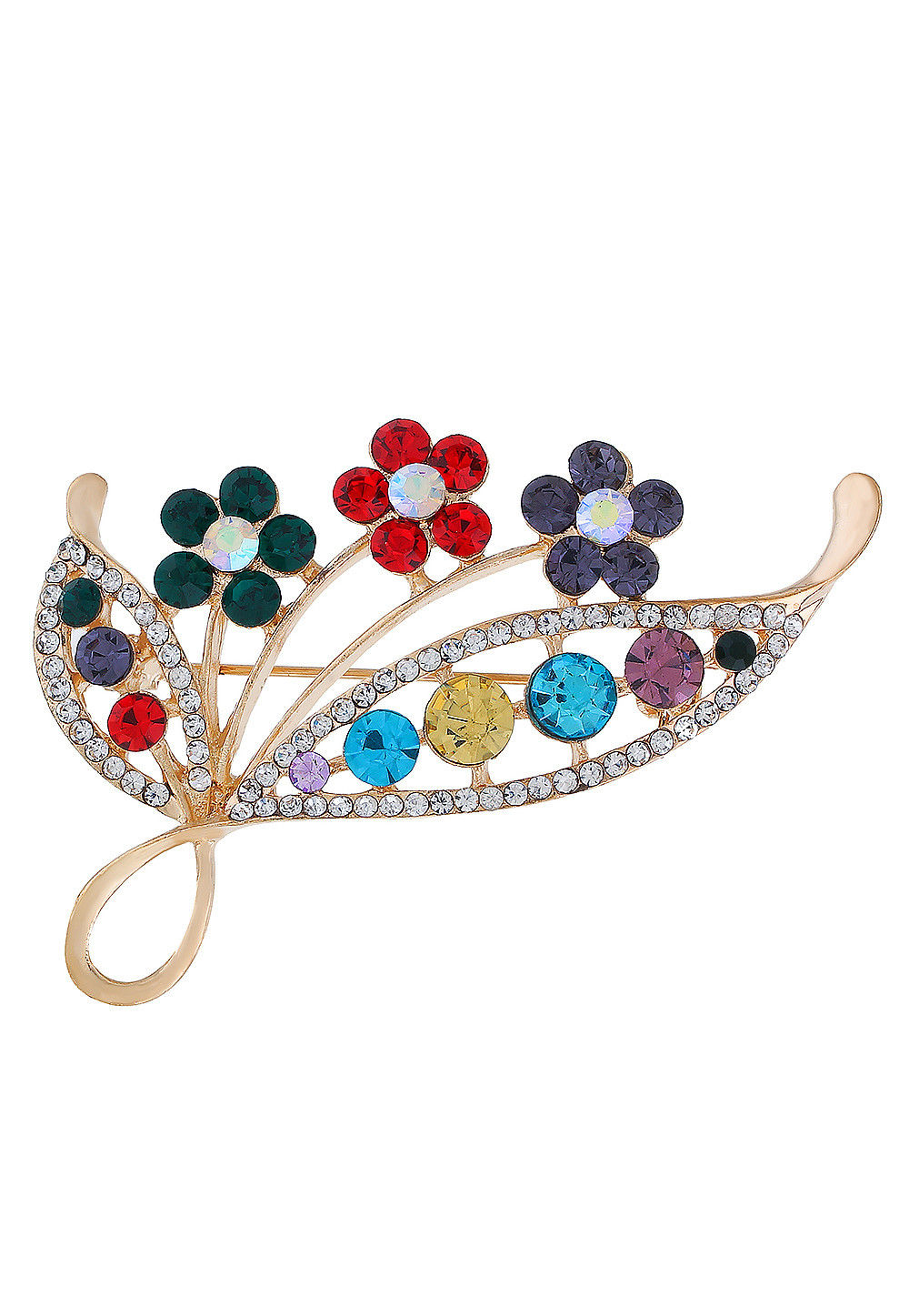 Stone Studded Brooch in Multicolor