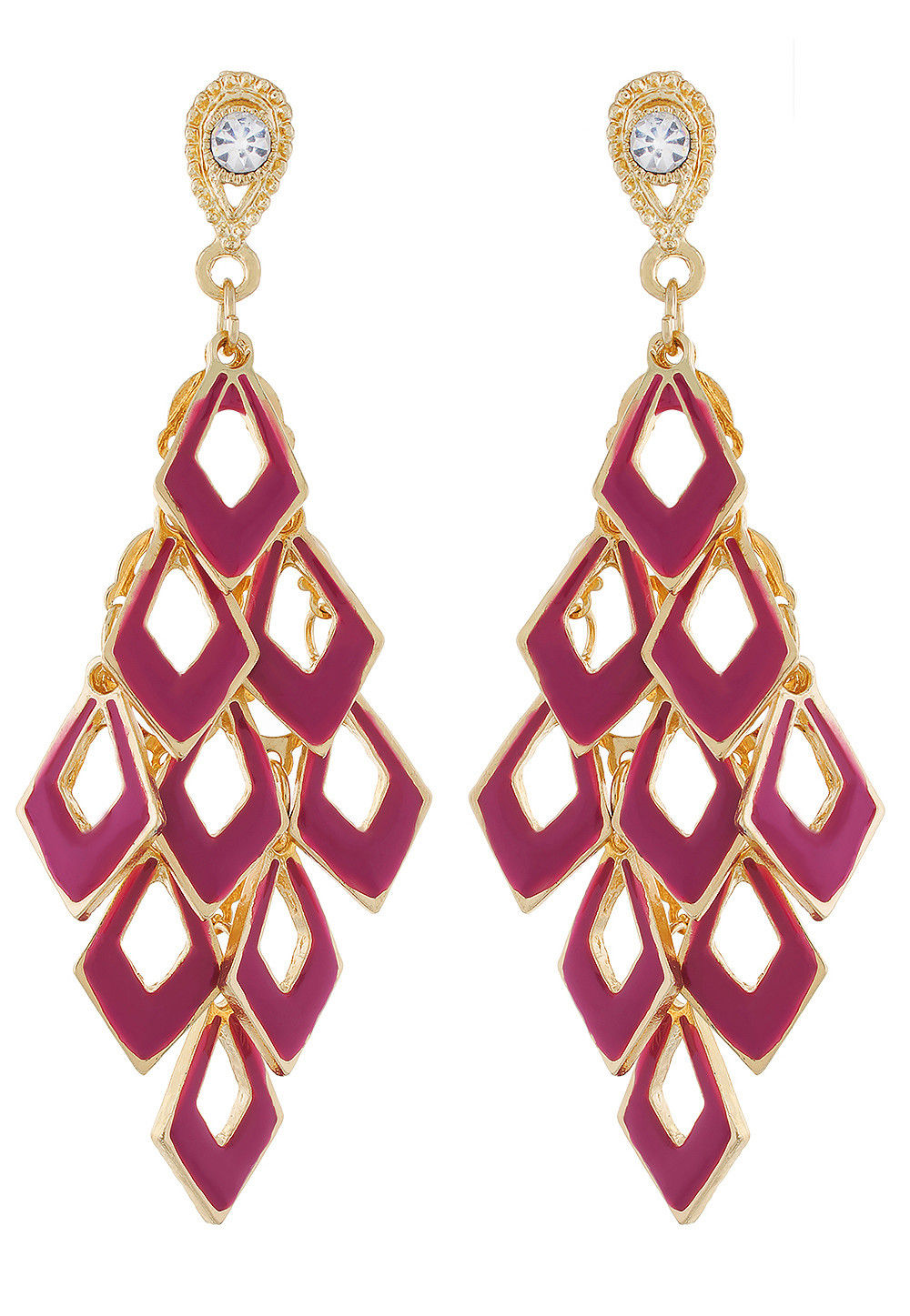 Stone Studded Earring in Magenta