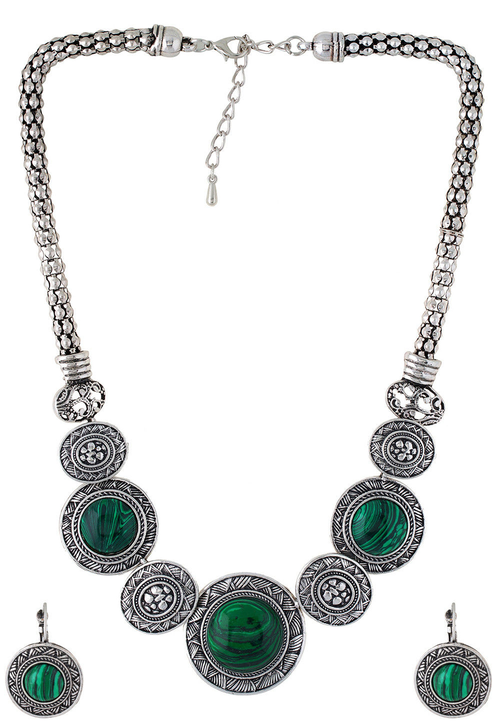 Stone Studded Necklace Set in Green and Silver