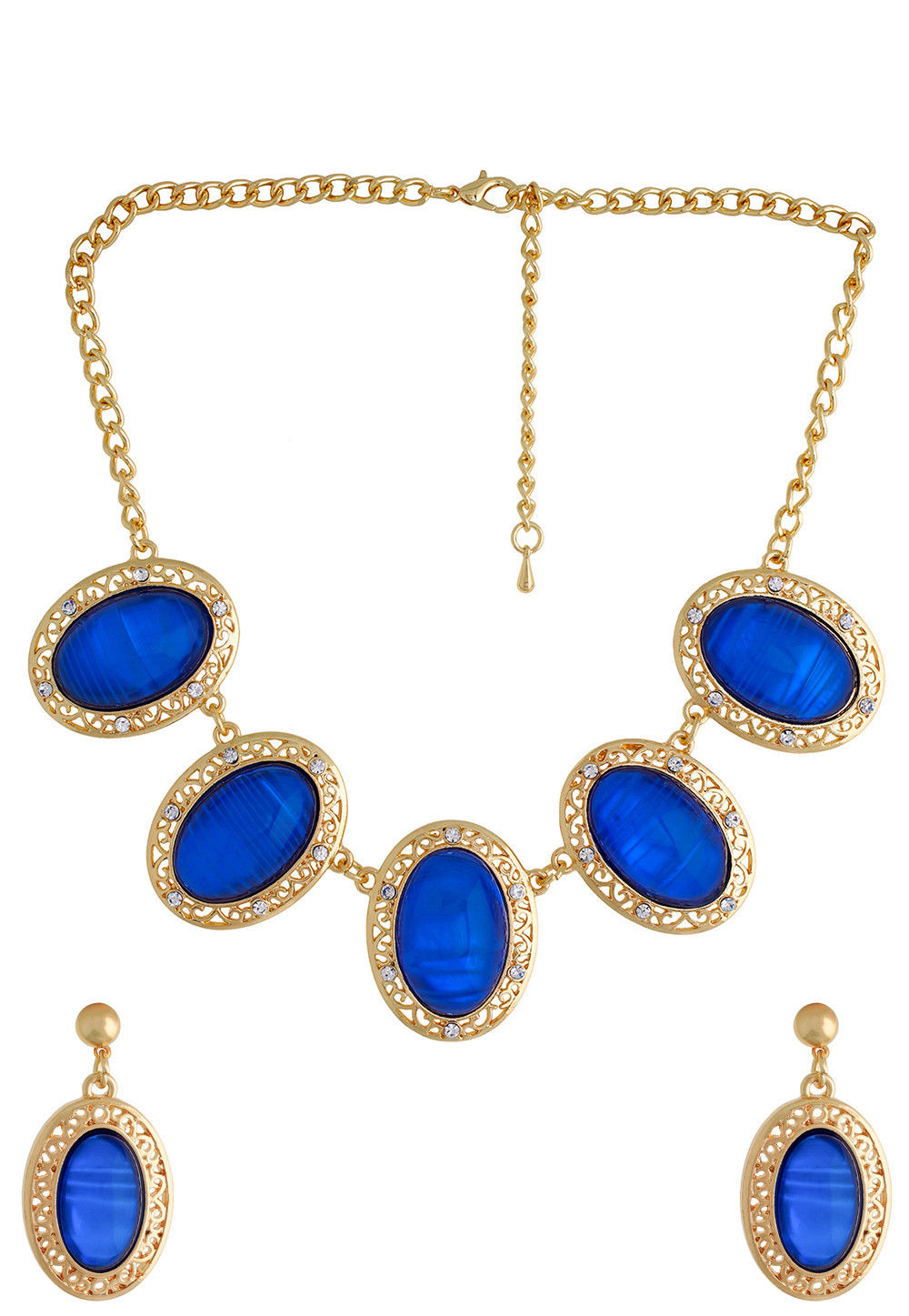 Stone Studded Necklace Set in Blue