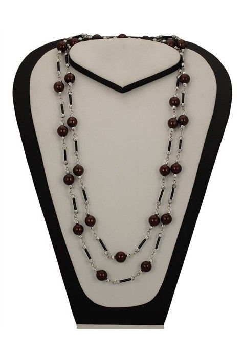 Beaded Necklace in Brown and Silver
