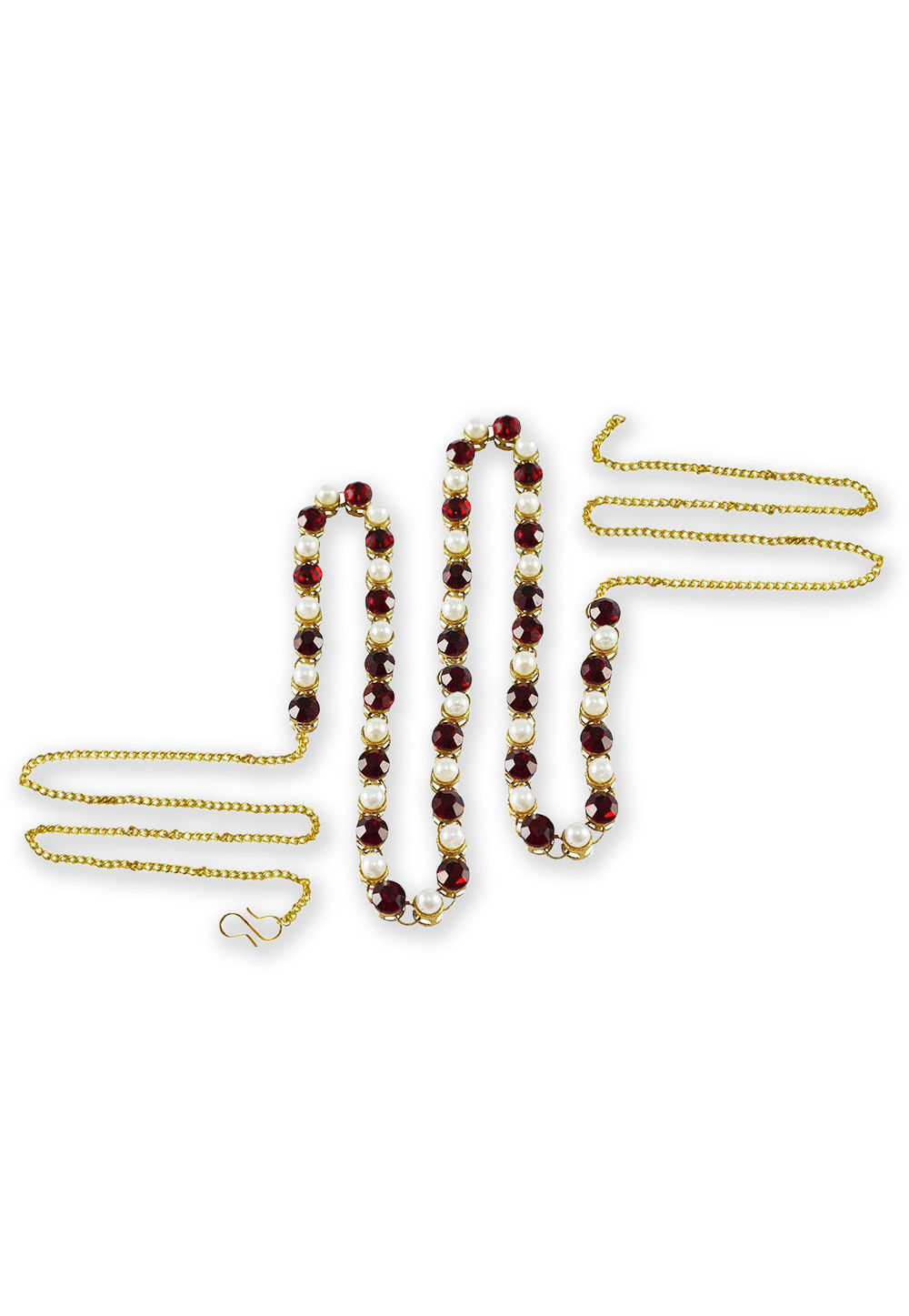 Stones Studded Waist Chain in Maroon and White