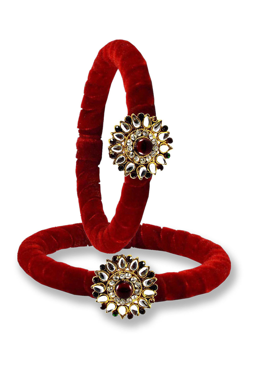 Stone Studded Bangle Pair in Red