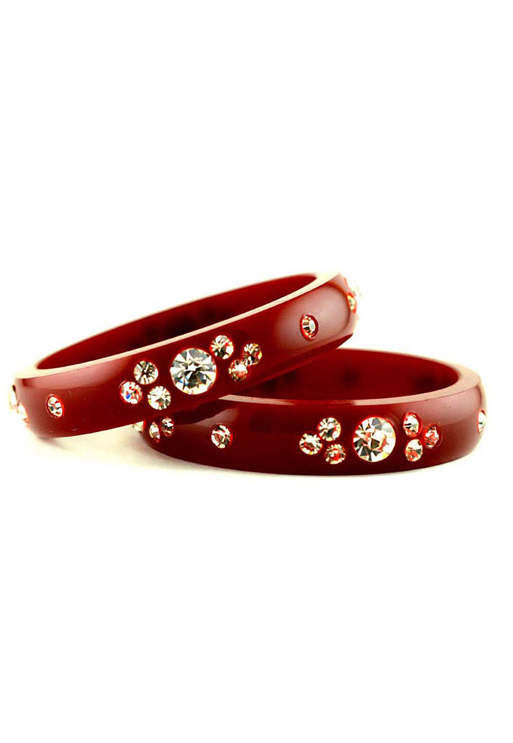 Stone Studded Bangles in Maroon