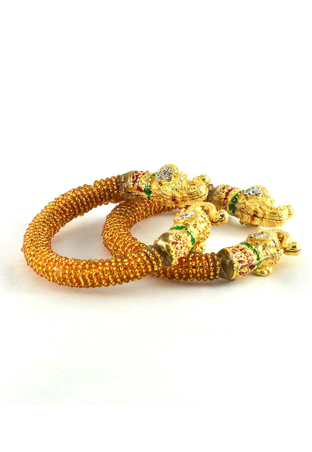 Beaded Bangle Pair in Golden