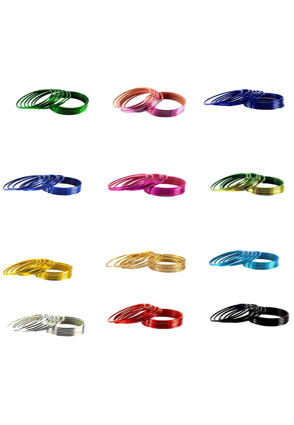 Metallic Combo Bangle Set in Multicolor