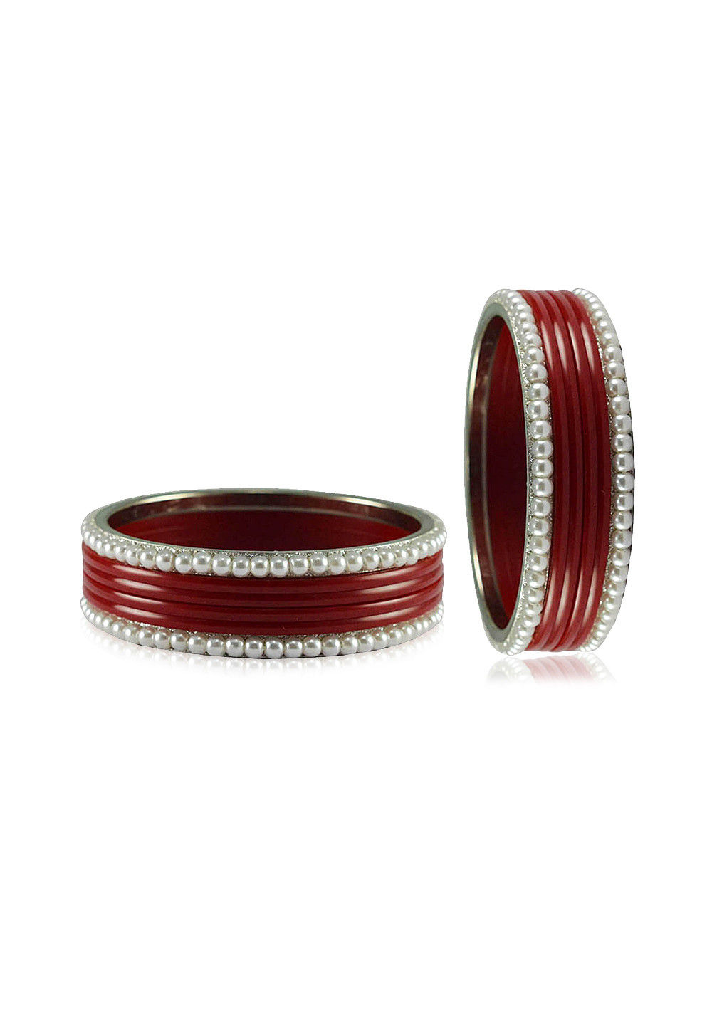 Maroon and White Artificial Pearl Bangles