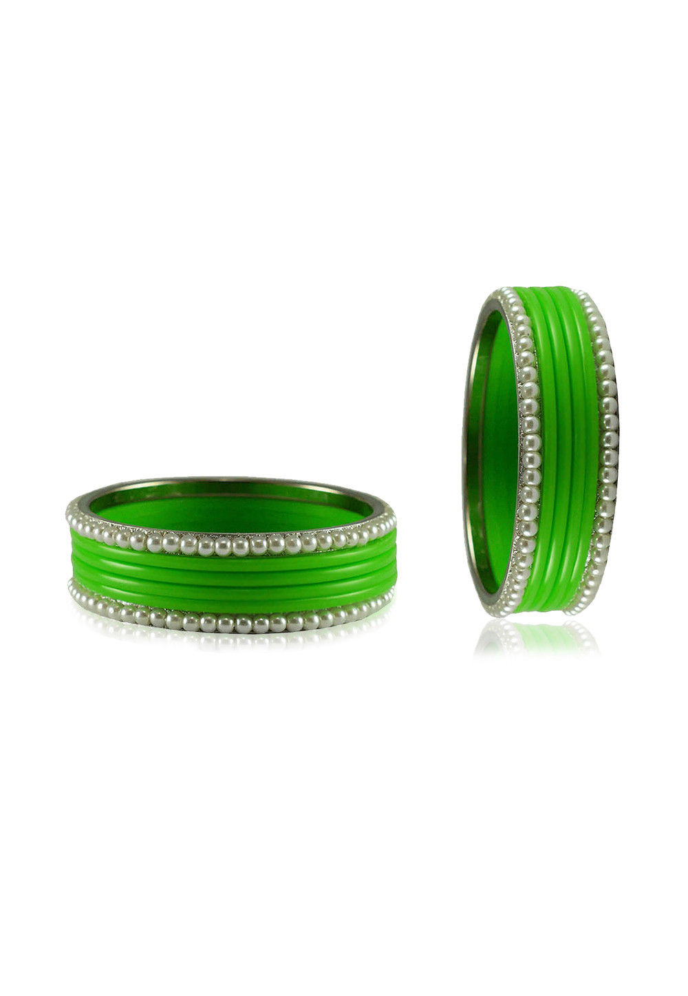 Green and White Artificial Pearl Bangles