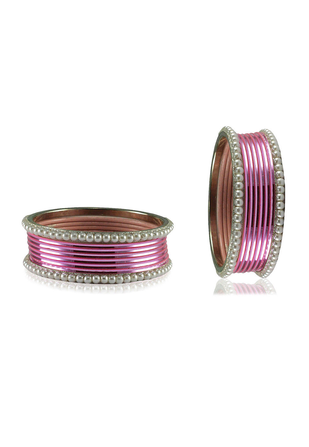 Pink and White Artificial Pearl Bangles