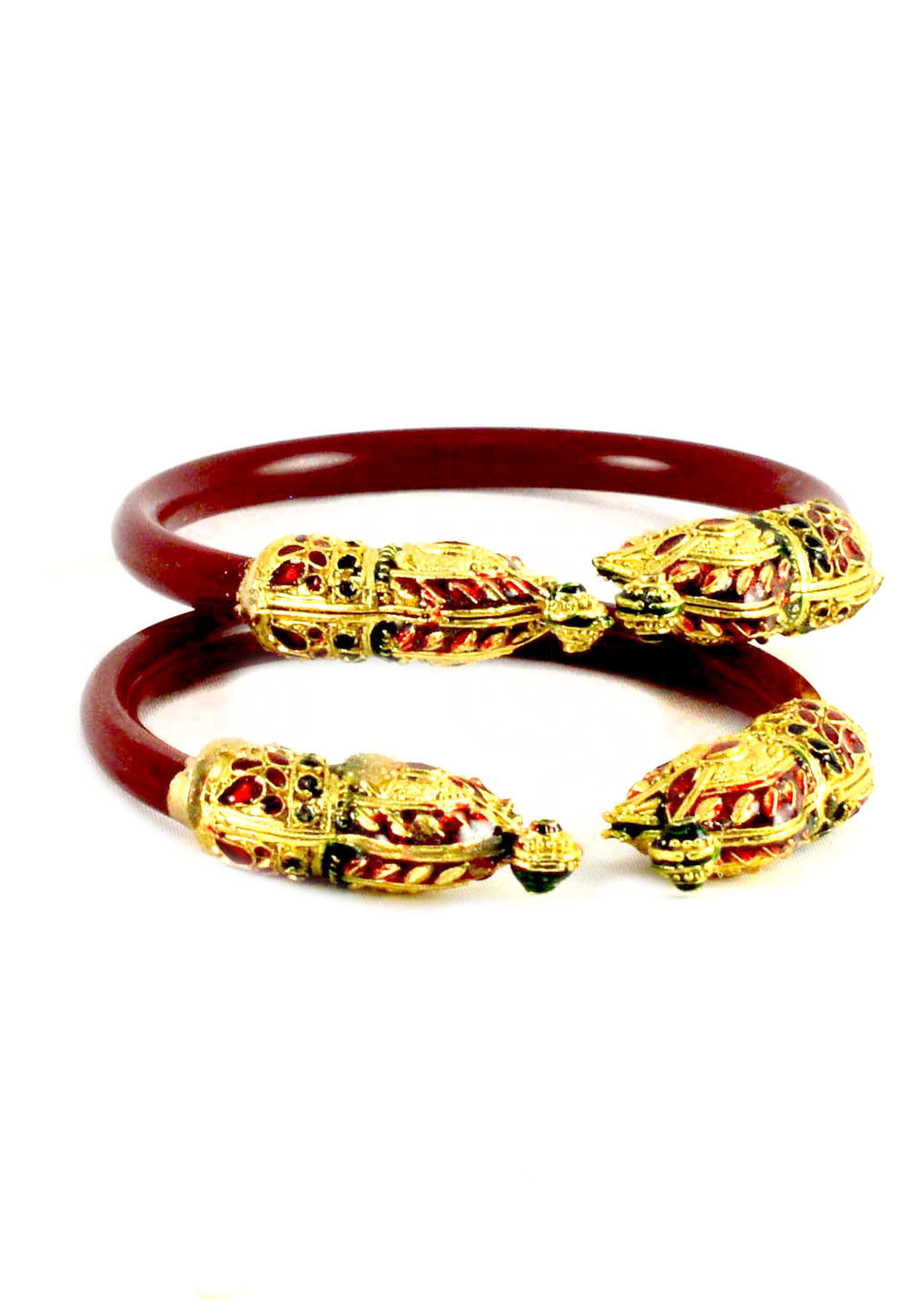 Meenakari Adjustable Bangle Pair in Maroon