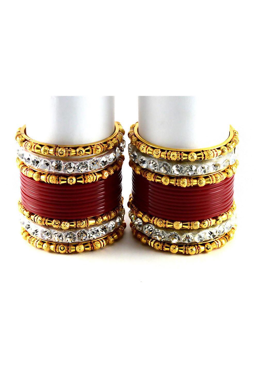 Stone Studded Chura Set in Red