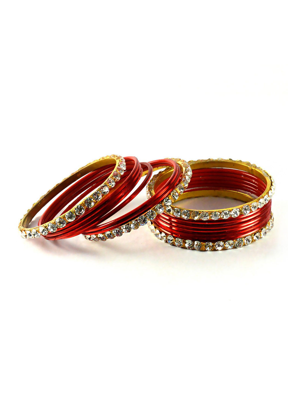 Stone Studded Bangle Set in Red and White