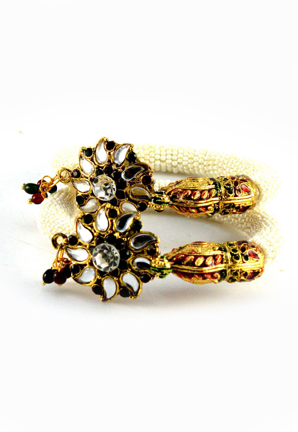 White and Maroon Kundan Adjustable Bangle Set