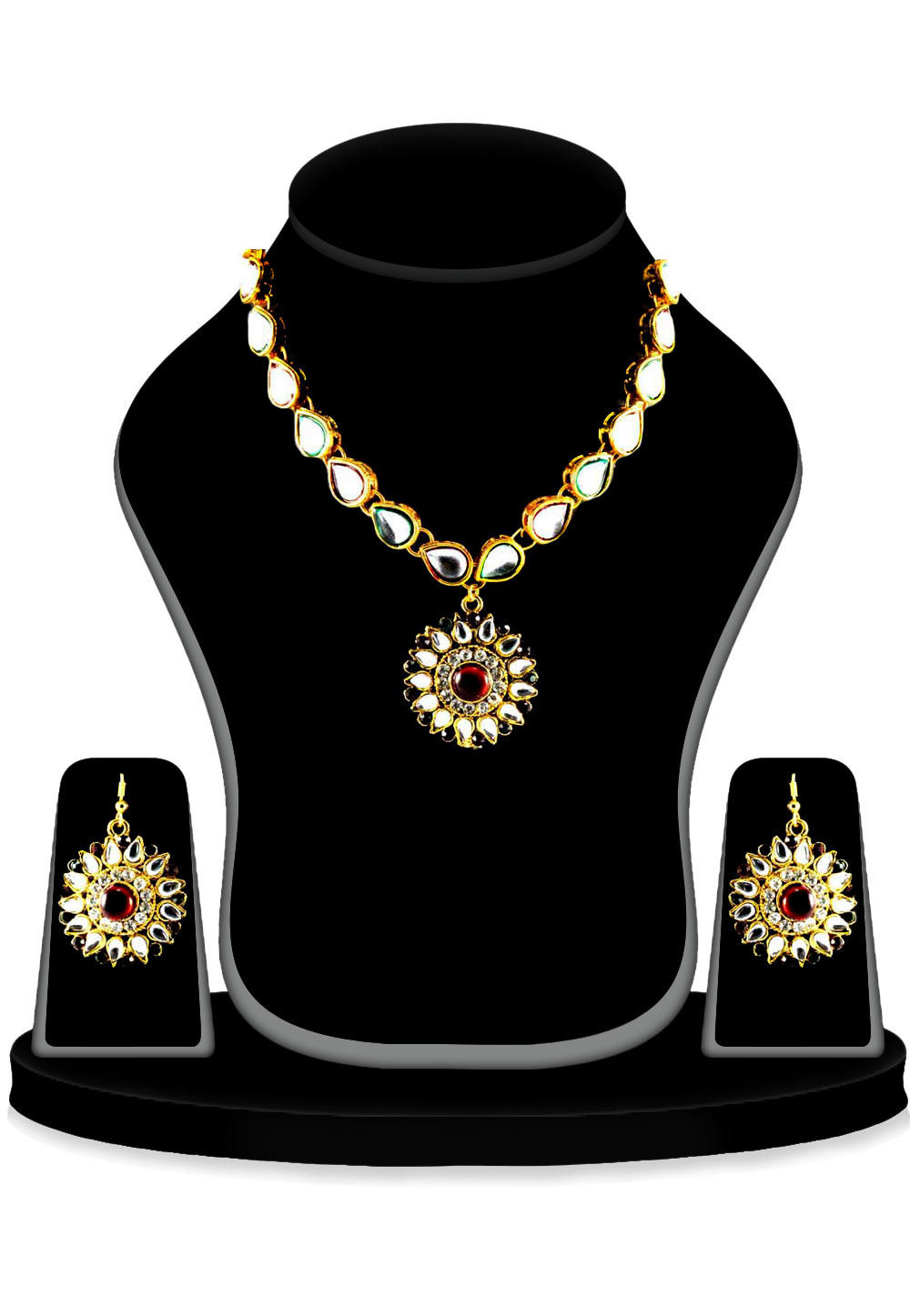Stone Studded Necklace Set in White and Maroon