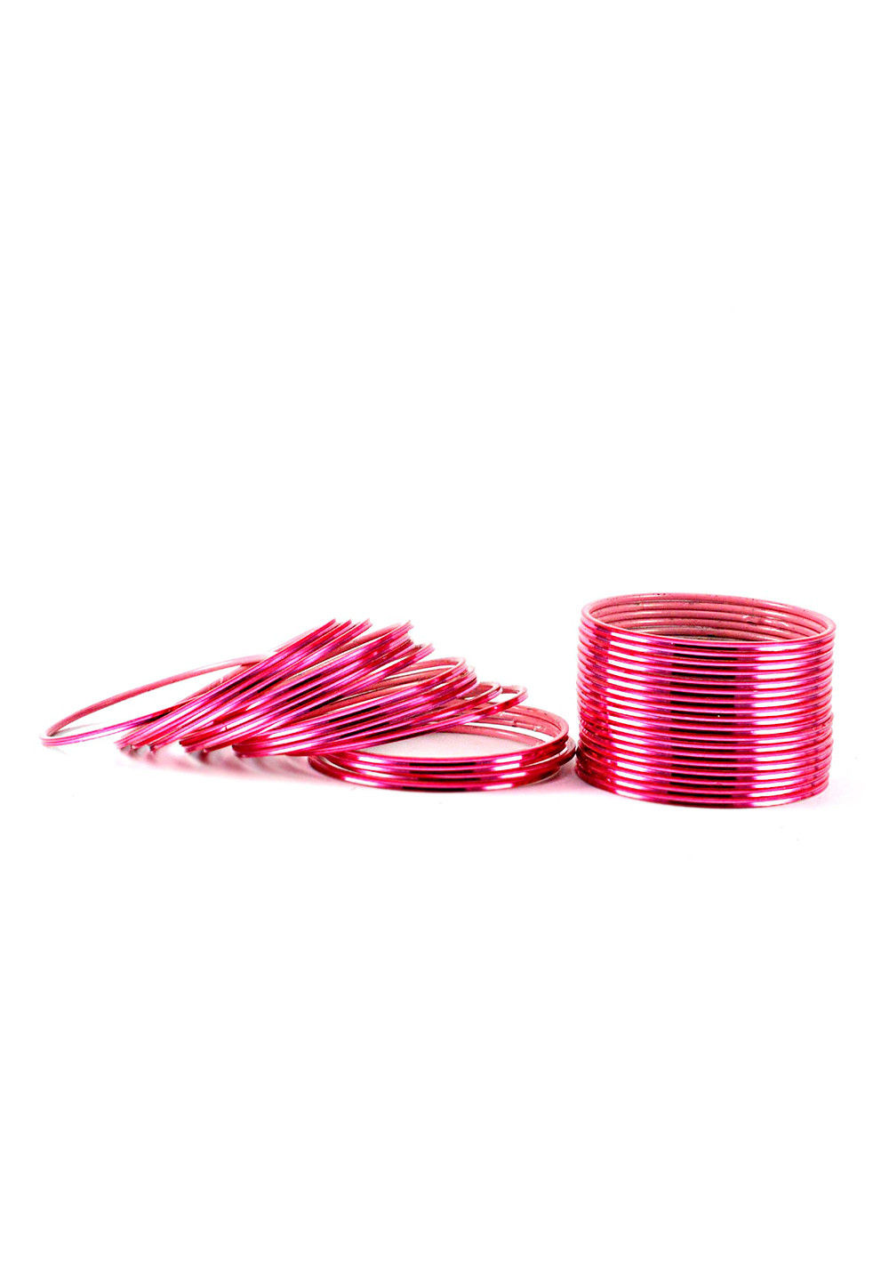 Metallic Bangle Set in Pink