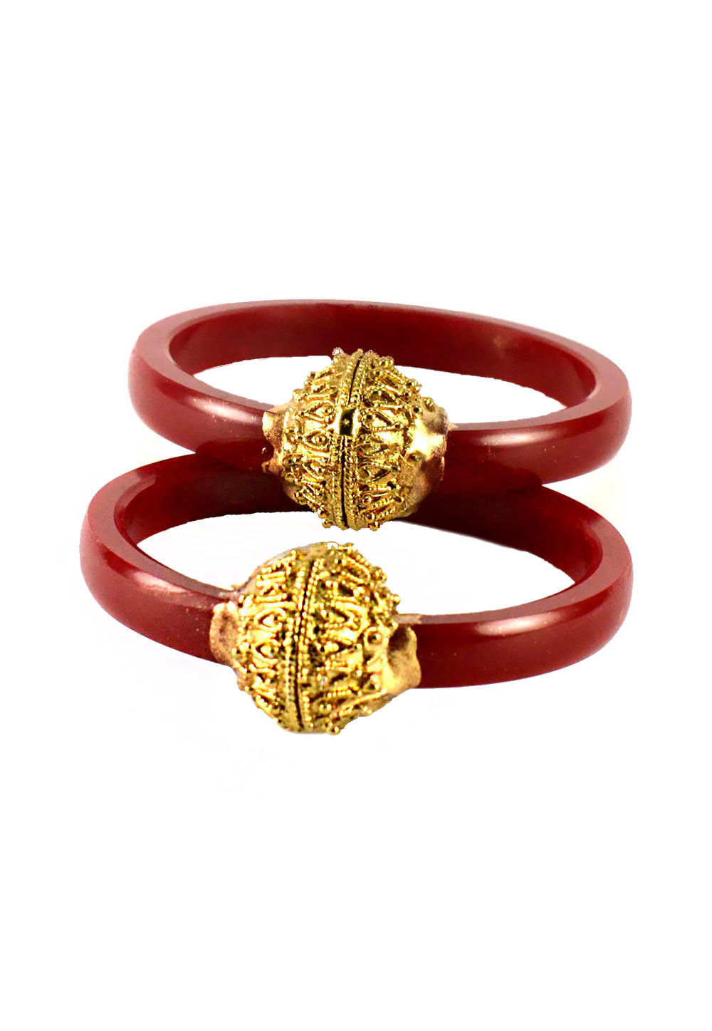 Red Gold Plated Bangle Pair