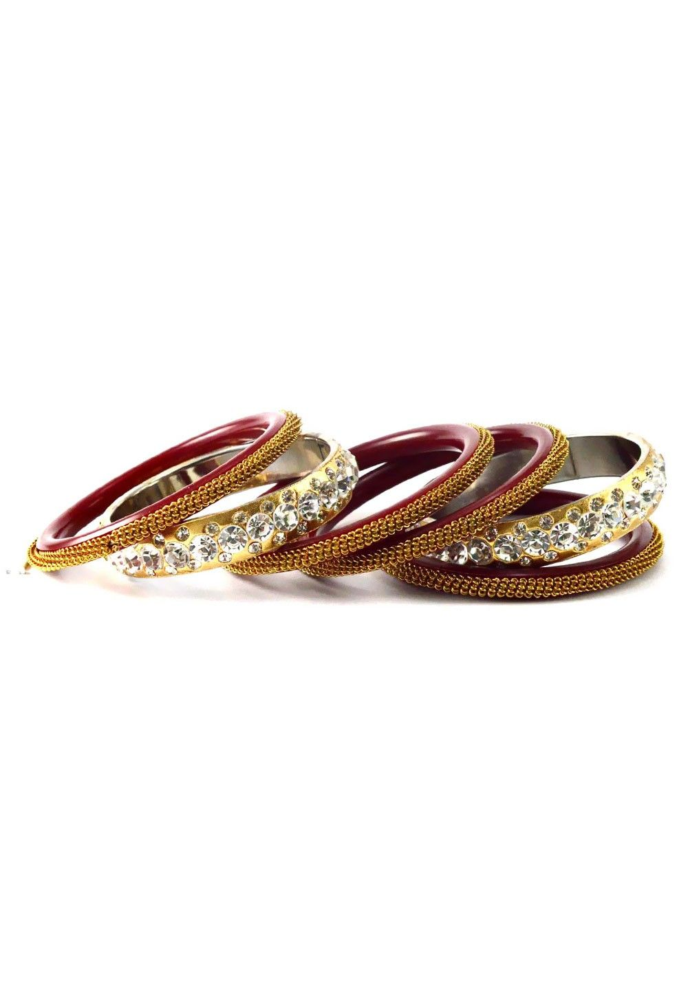 Stone Studded Bangle Set in Maroon and Golden