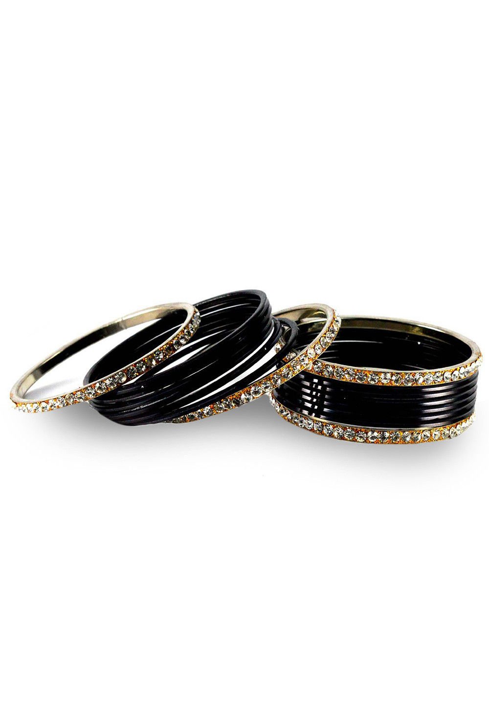 Stone Studded Bangle Set in Black and White