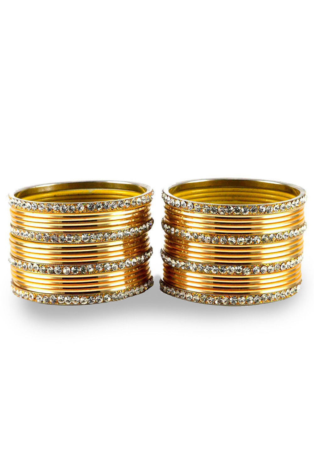 Stone Studded Bangle Set in Golden and White