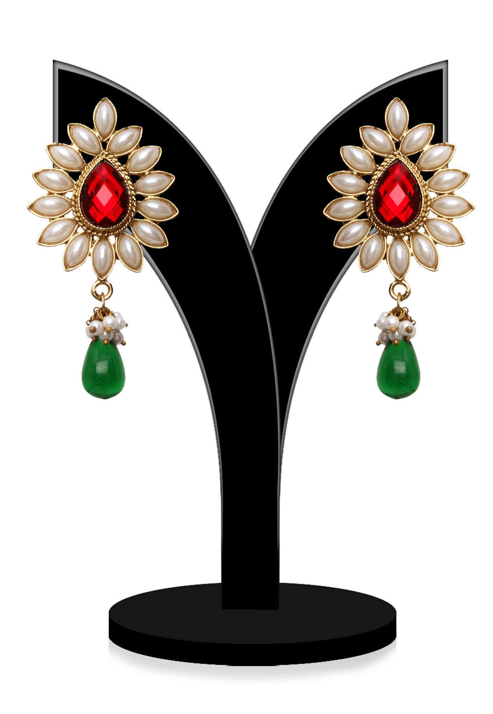 Stone Studded Earrings in Multicolor