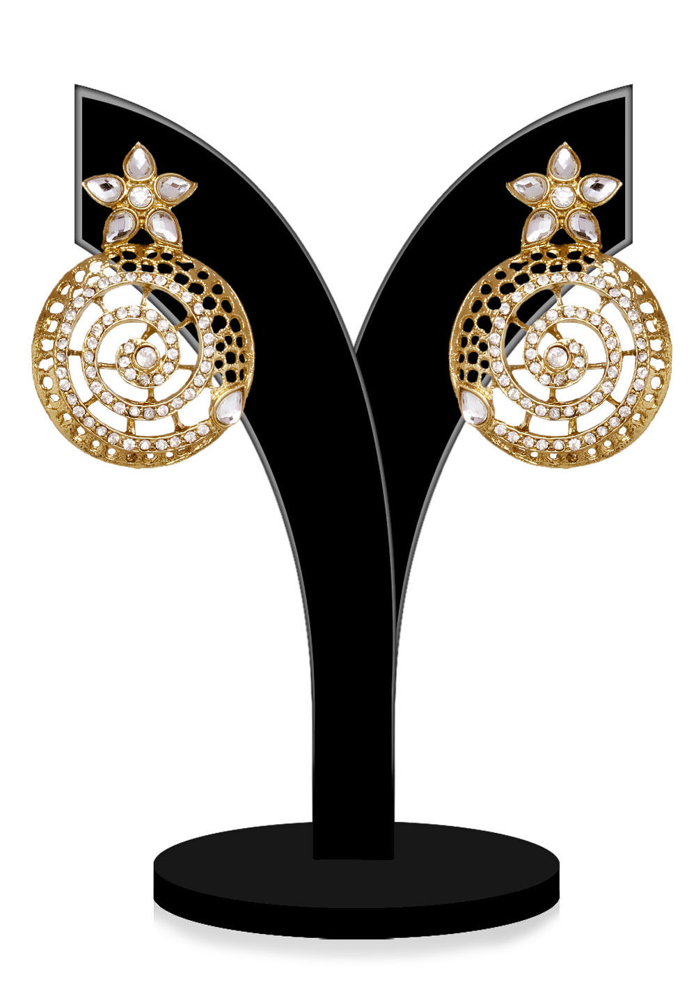 Kundan Earring in Golden and White