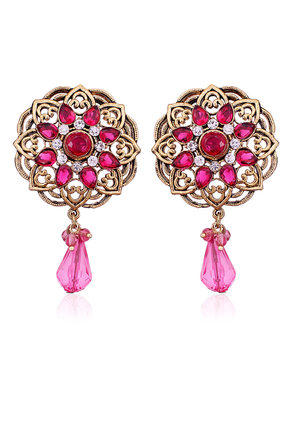 Stone Studded Earring in Fuchsia and Golden