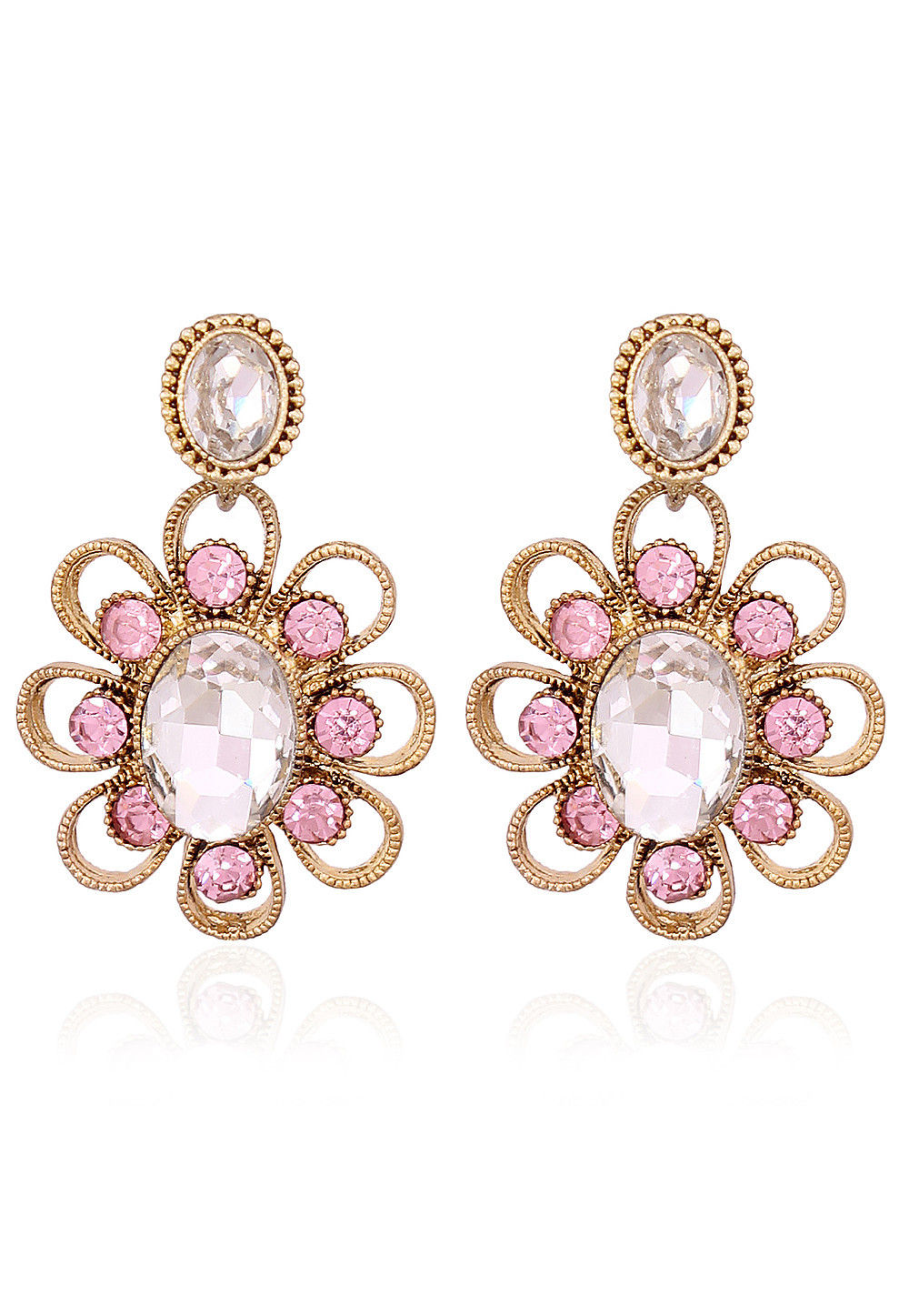Stone Studded Earring in Pink and White