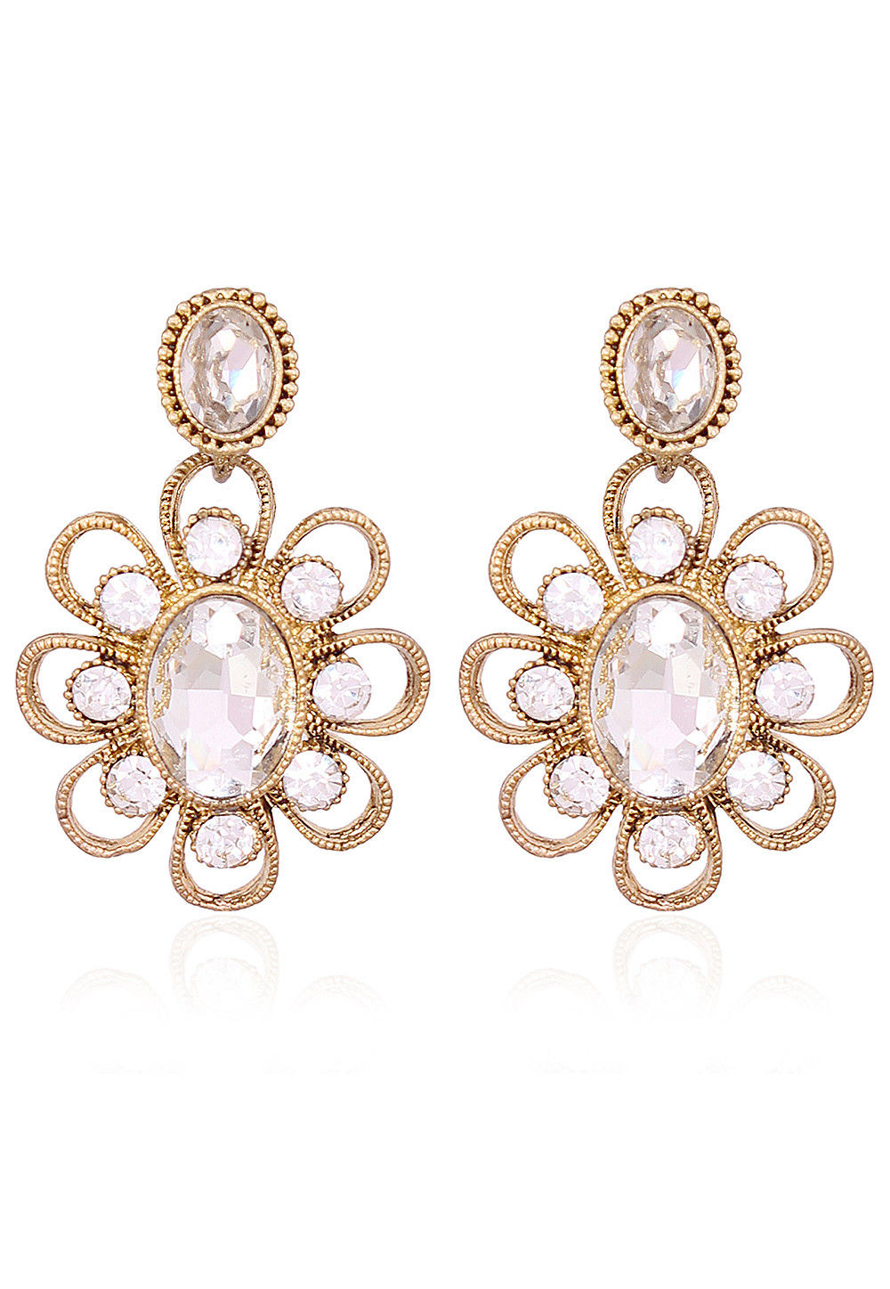 Stone Studded Earring in Golden and White