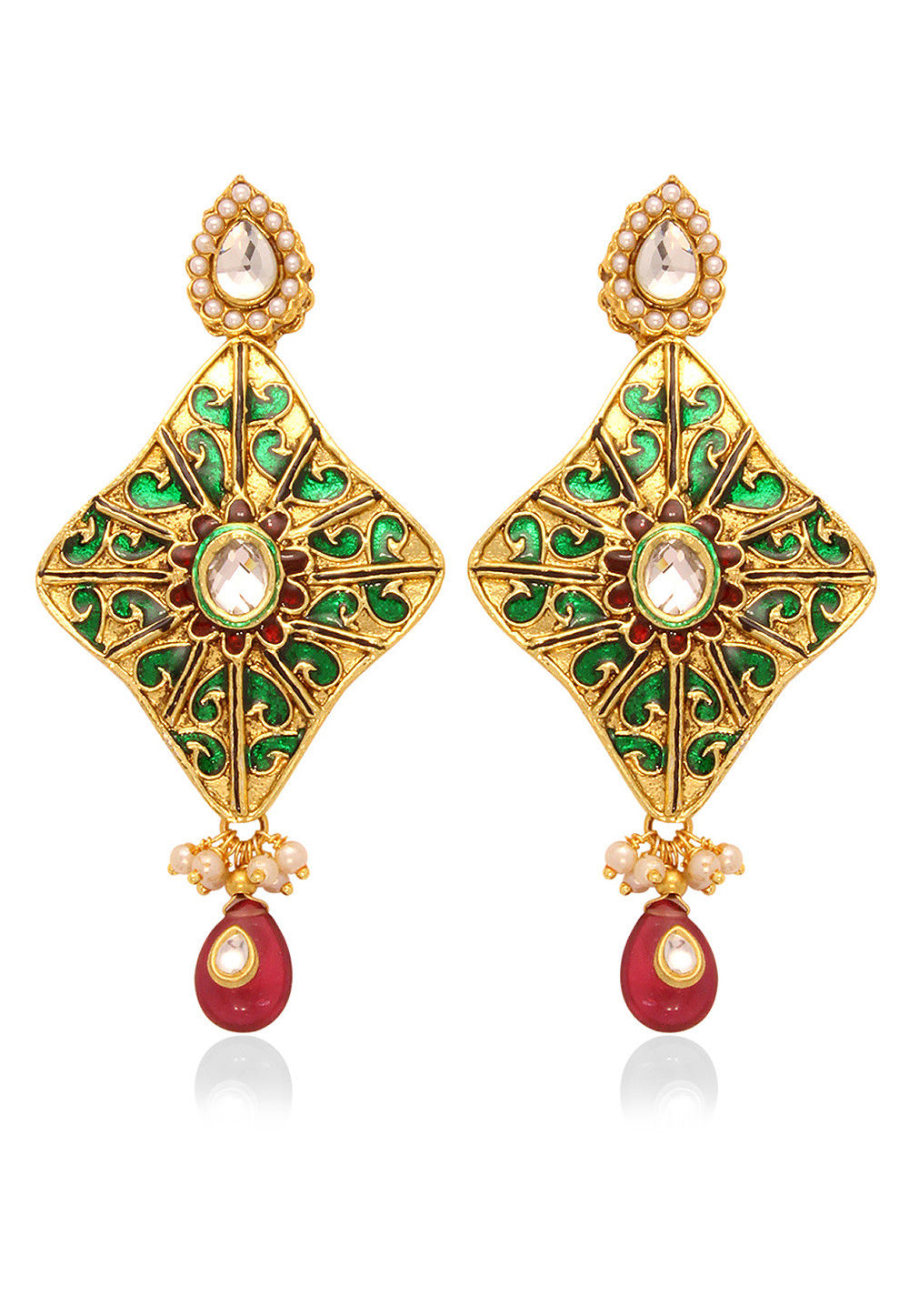 Meenakari Earring in Green and Maroon