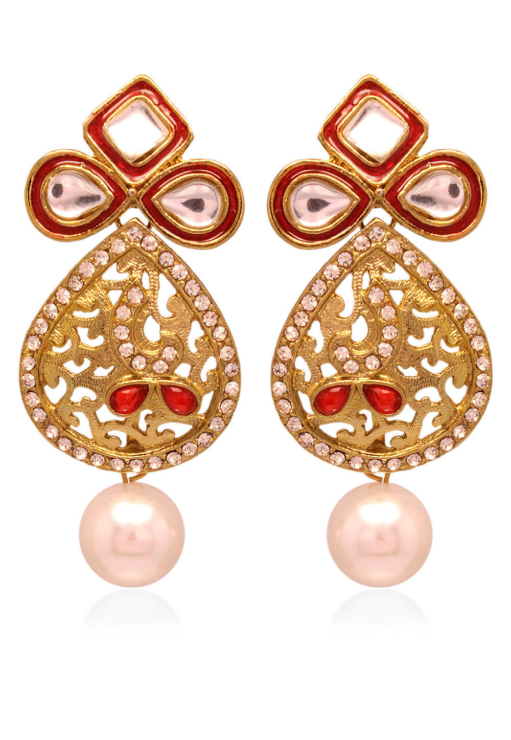 Kundan Earring in Golden and Red
