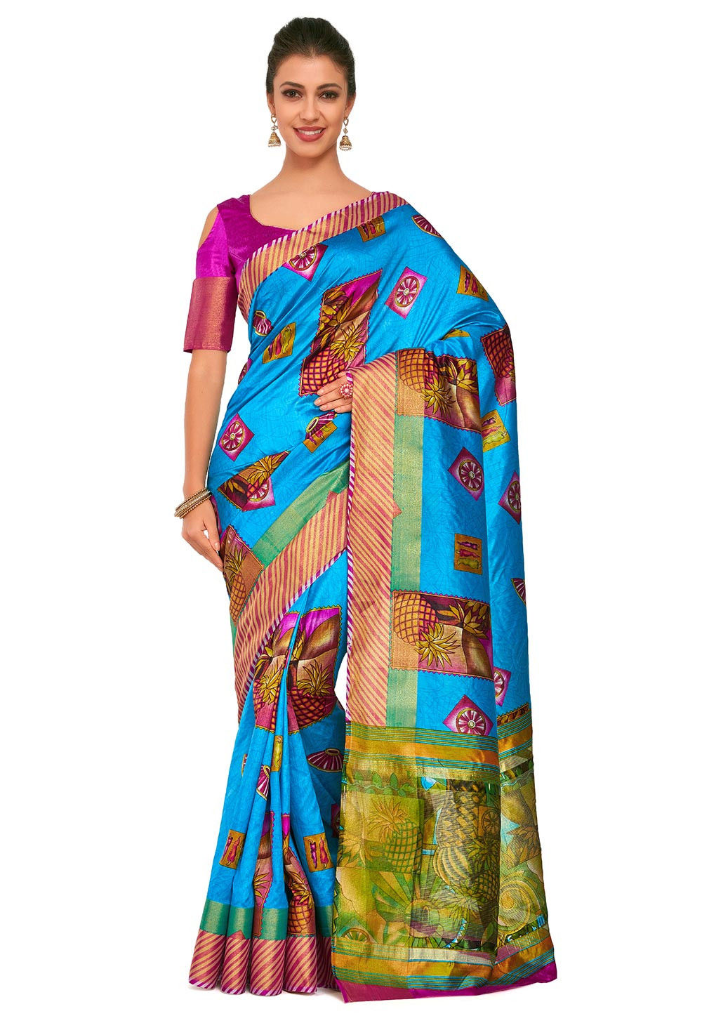 Kalamkari Printed Dupion Silk Saree in Blue