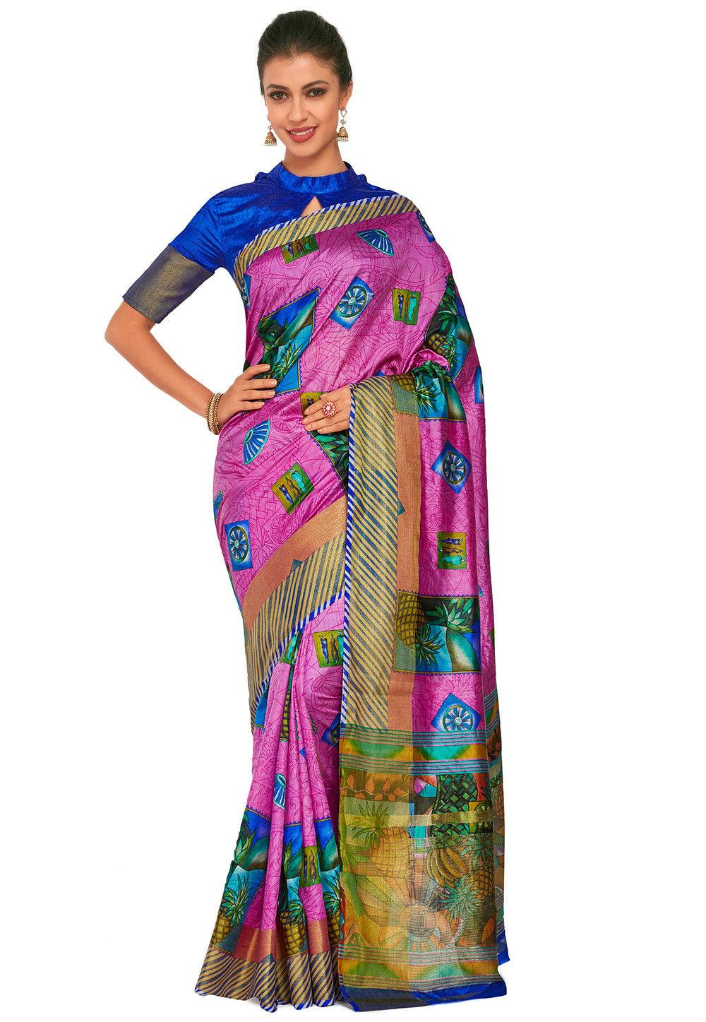 Kalamkari Printed Dupion Silk Saree in Pink