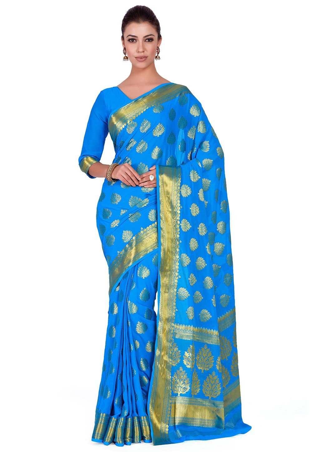 Kanchipuram Chiffon Saree in Blue