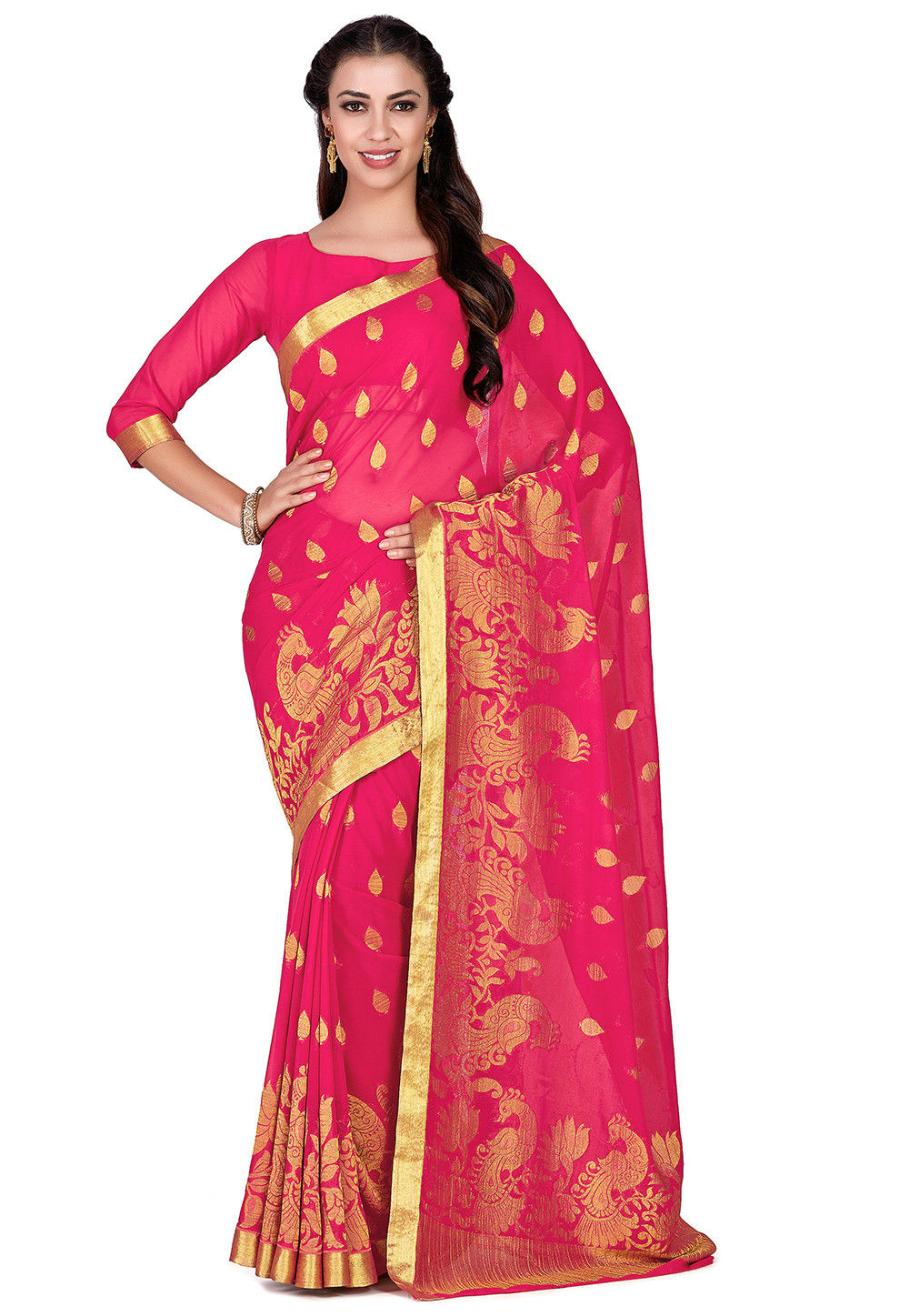 Kanchipuram Chiffon Saree in Fuchsia