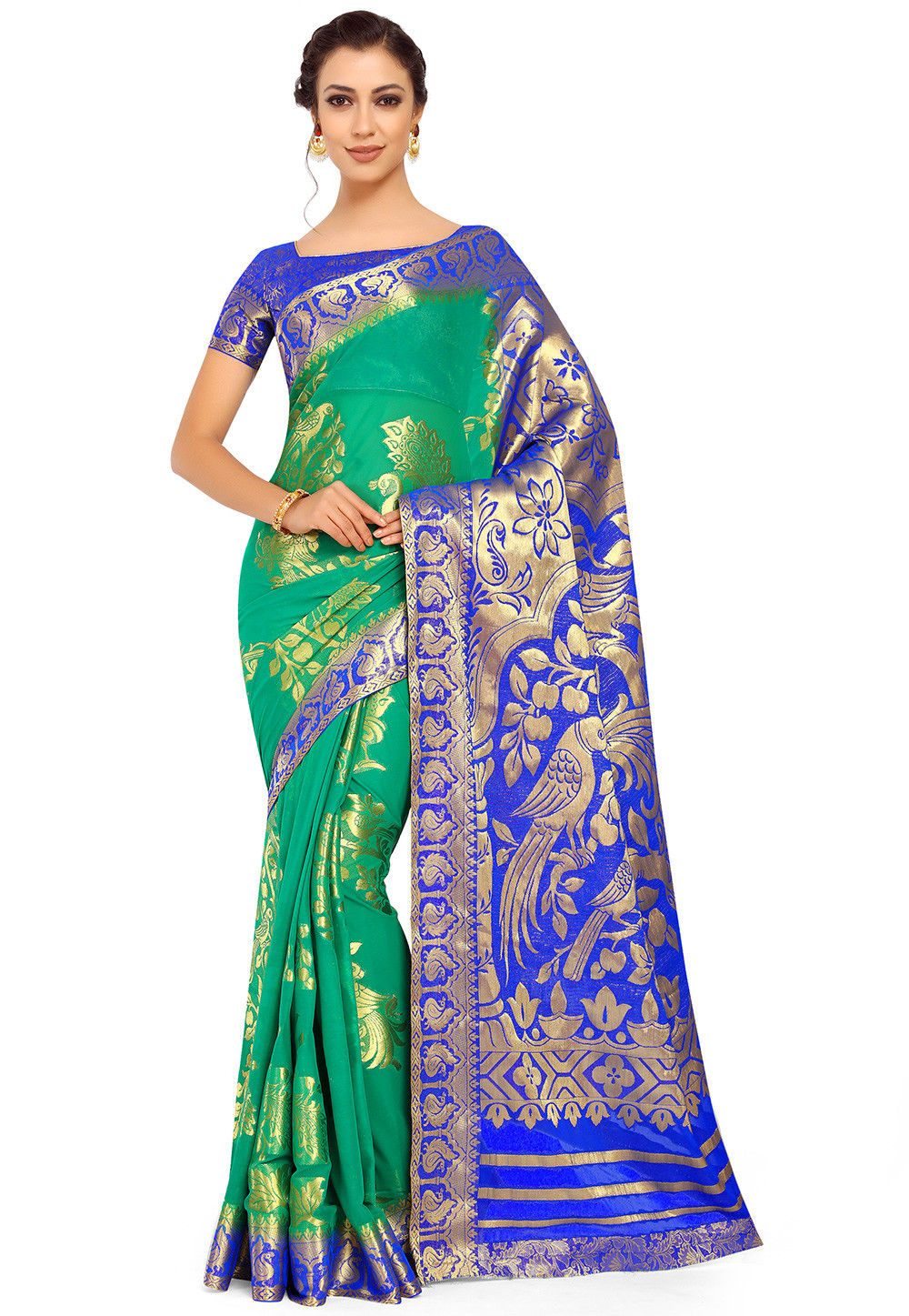 Kanchipuram Chiffon Saree in Green