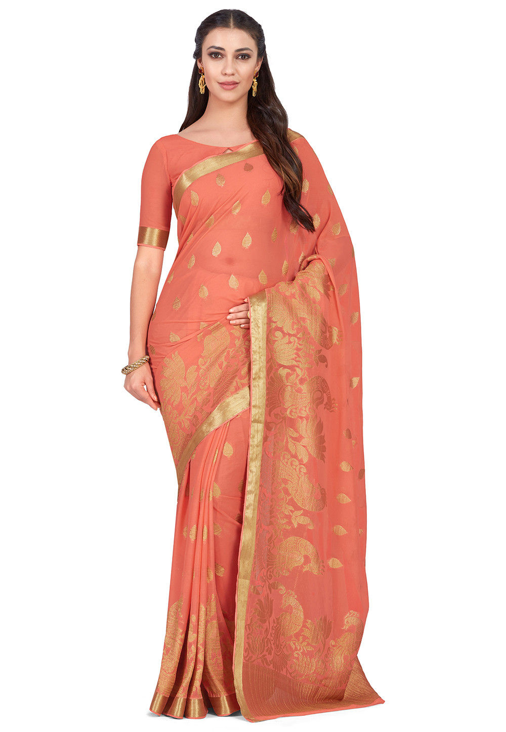 Kanchipuram Chiffon Saree in Peach