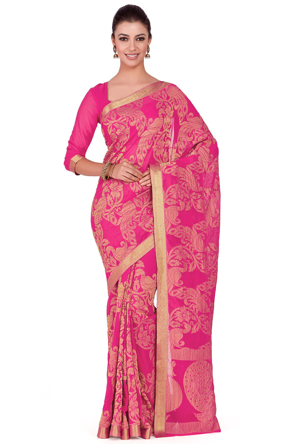 Kanchipuram Chiffon Saree in Pink