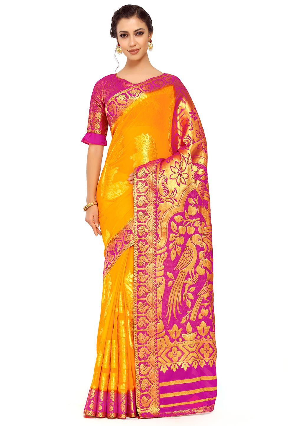 Kanchipuram Chiffon Saree in Yellow