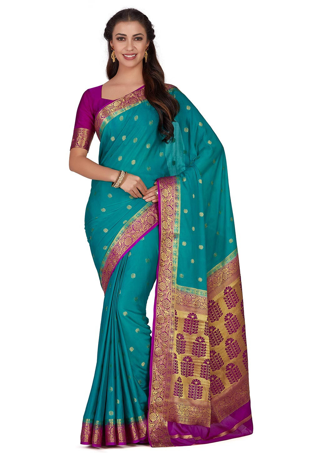 Kanchipuram Crepe Saree in Teal Blue