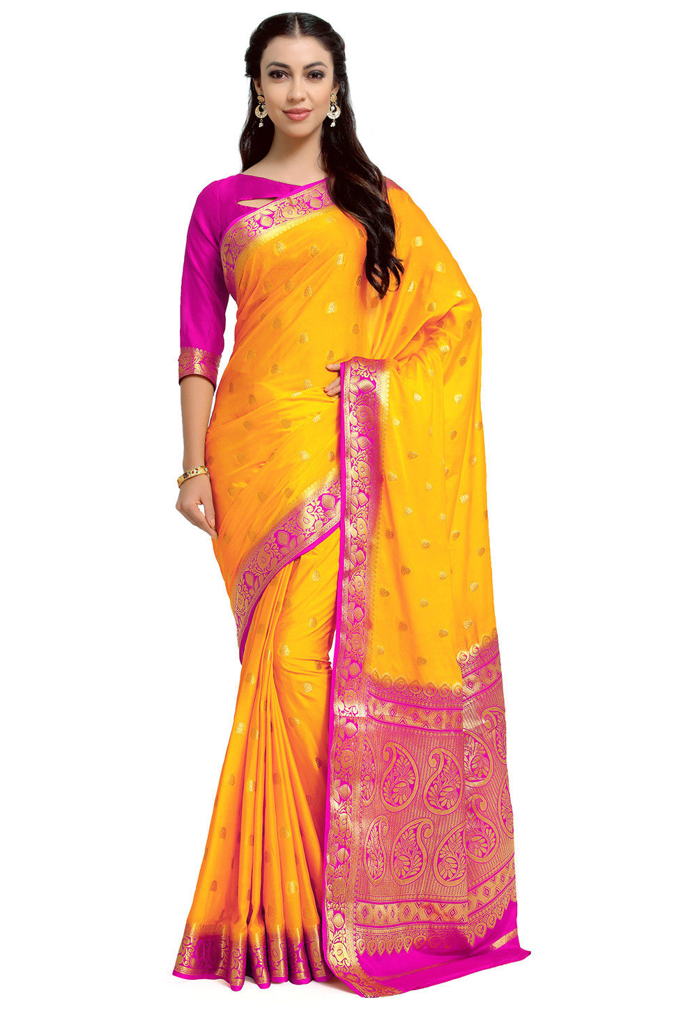 Kanchipuram Crepe Saree in Yellow