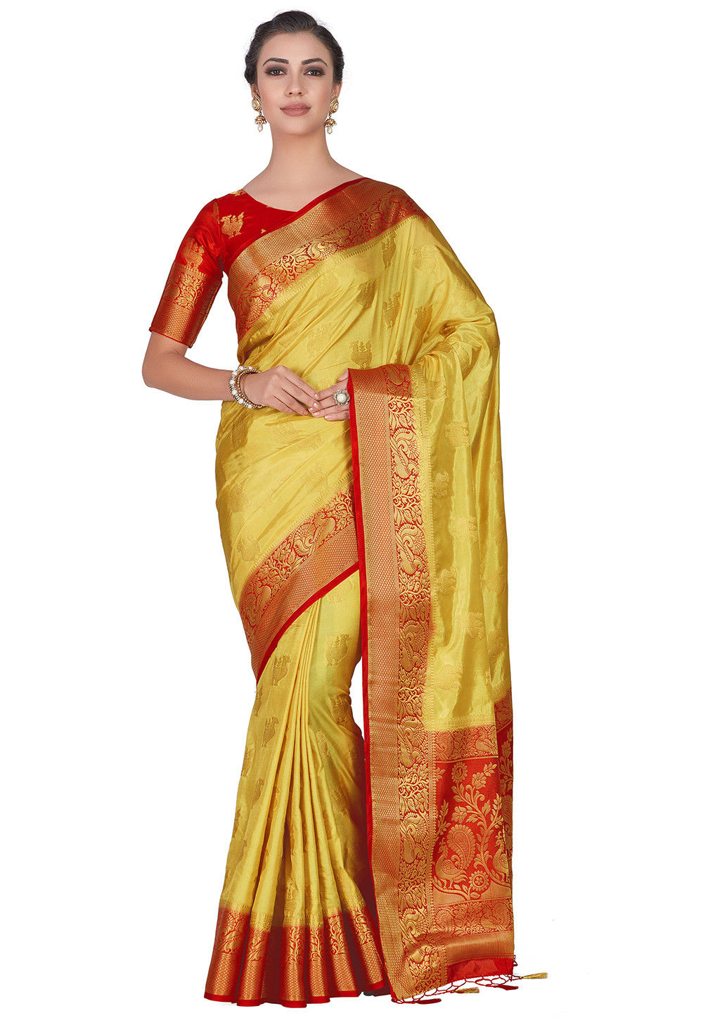 Kanchipuram Saree in Light Yellow