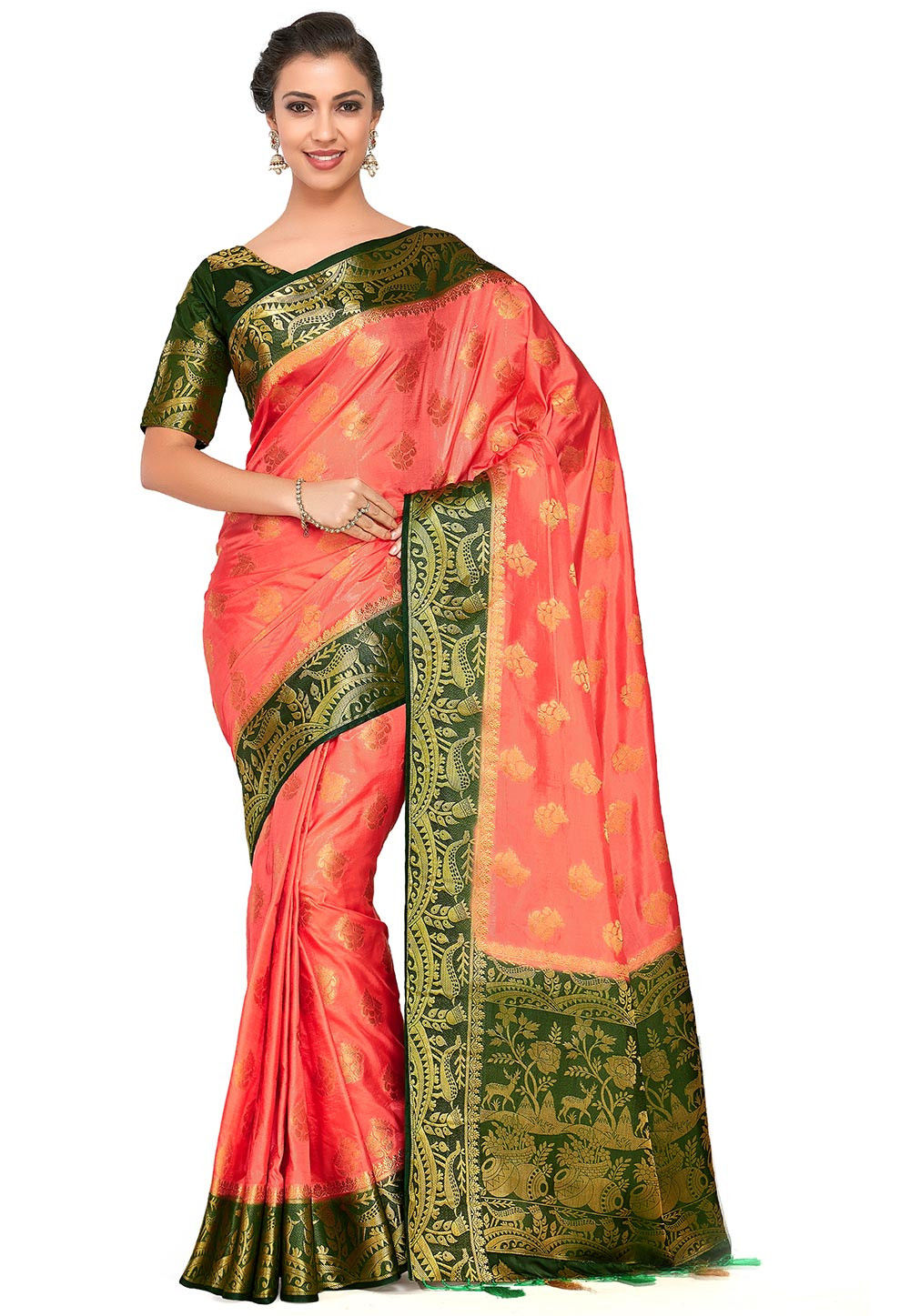 Kanchipuram Saree in Peach