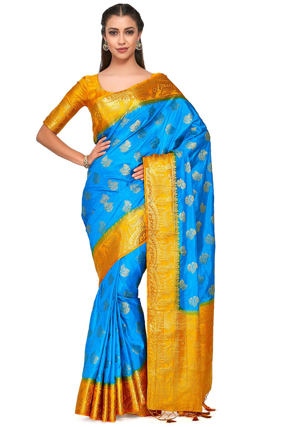 Kanchipuram Saree in Turquoise