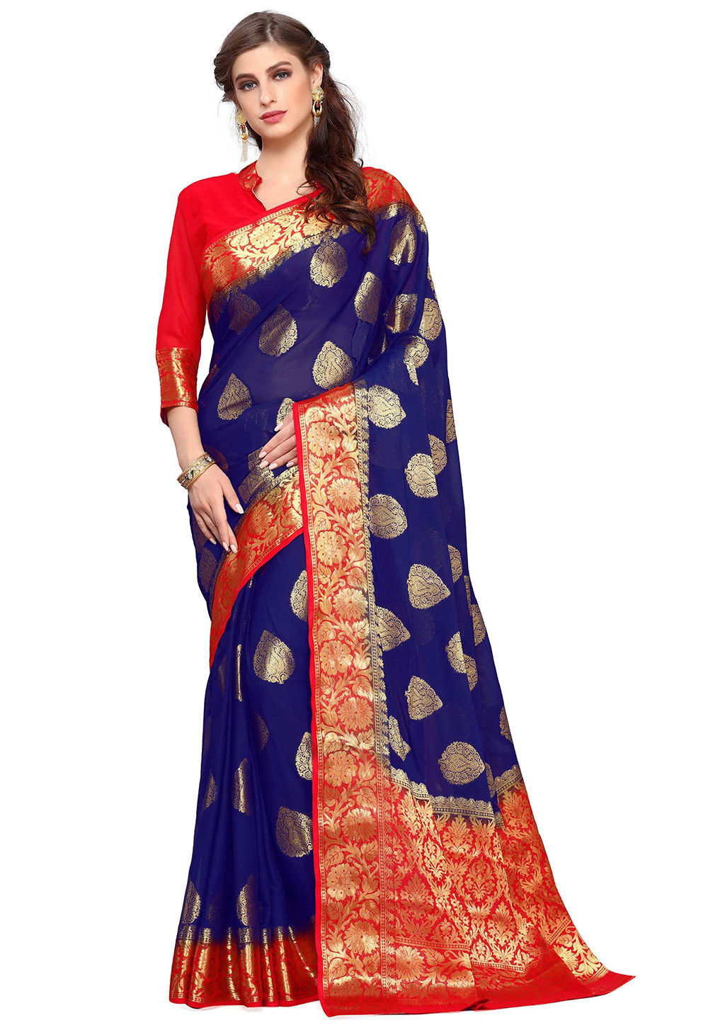 Kanchipuram Silk Saree in Dark Blue