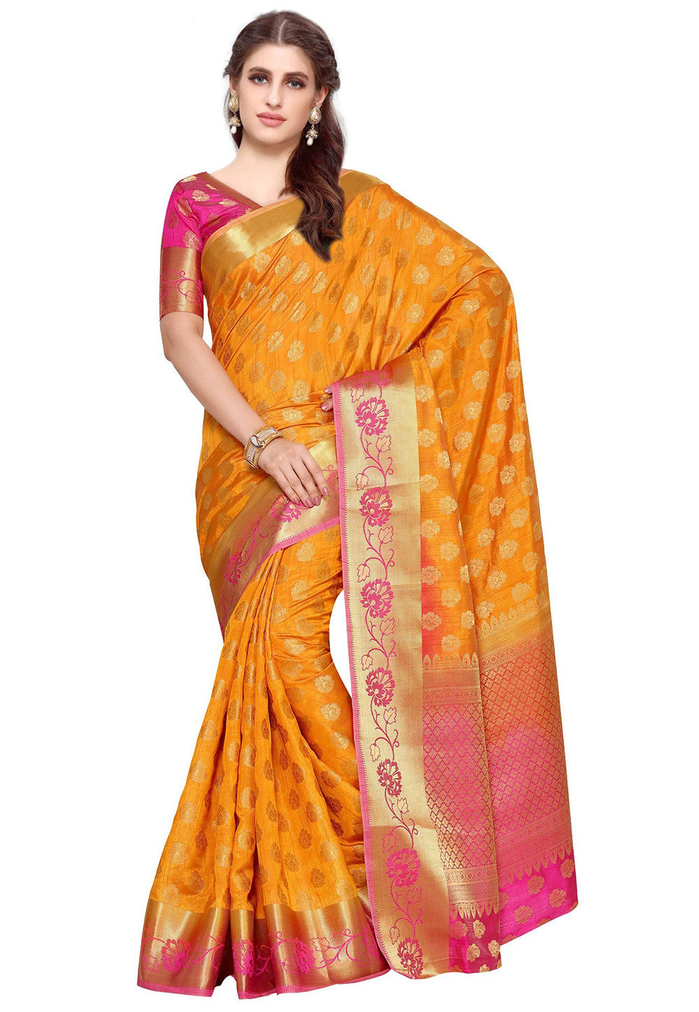Kanchipuram Silk Saree in Mustard